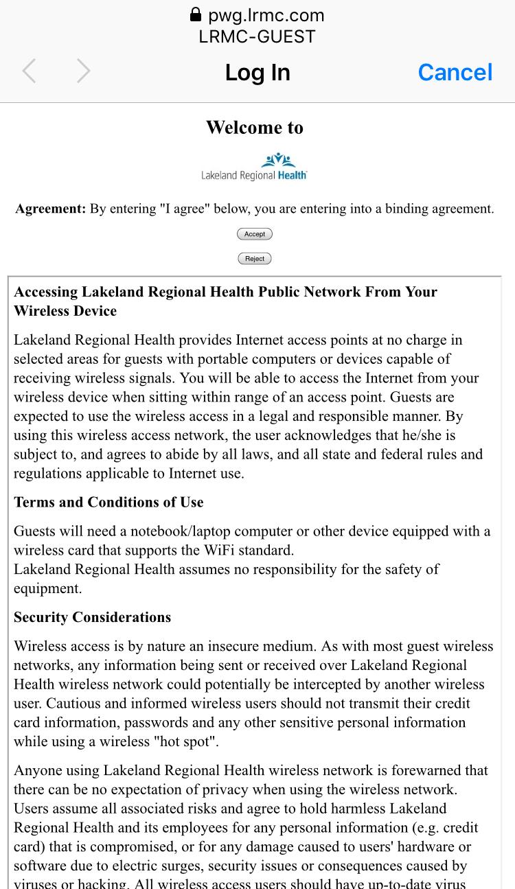 Guest Wireless Network - Lakeland Regional Health